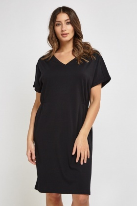 V-Neck Black Shift Dress