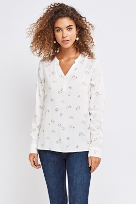 Envelope Print Shirt With Open Button Up Front