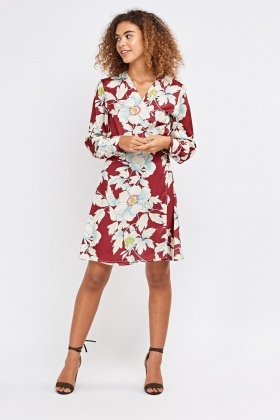Flower Print Kimono Dress With tie Up Waist