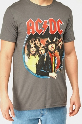 Grey ACDC Printed T-Shirt