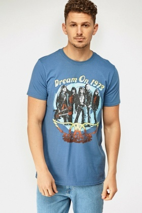 Middle Blue Printed Front T-Shirt