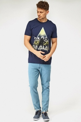 Printed Front Navy T-Shirt