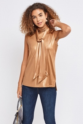 Shiny Shell Top With Neck Tie Detail