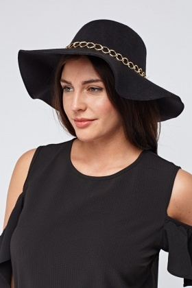 Chained Trim Felt Floppy Hat