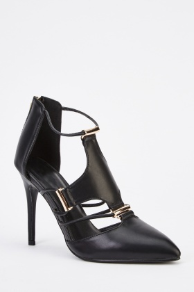 Faux Leather Detailed Black Heels
