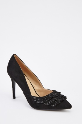 Suedette Frilled Front Court Heels