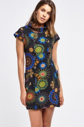 Arabesque Print Funnel Neck Dress