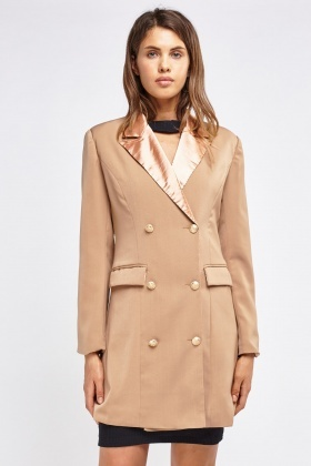 Contrast Collar Double Breasted Jacket