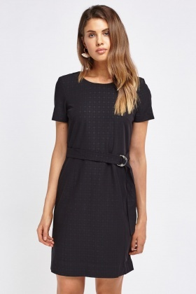 Formal Belted Midi Dress