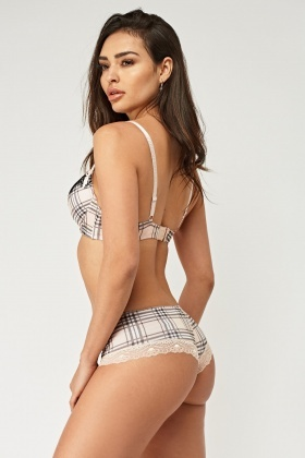 Lace Insert Printed Bra And Brief Set
