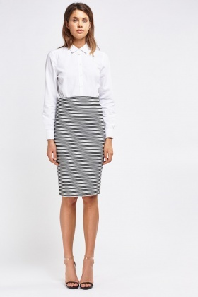 Mono Striped Pencil Skirt