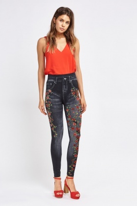 Printed Encrusted High Waisted Jeggings