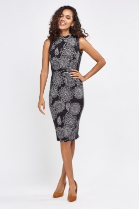 Arabesque Print With Faux leather Insert Pencil Dress