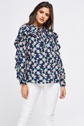 Flower Printed Frilly Blouse