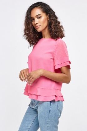 Frill Overlay Trim Top