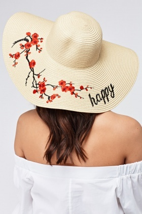 Happy Floral Embroidered Floppy Hat - Just £5 90e67e56707