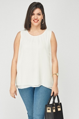 Sleeveless Sheer White Top