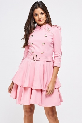 Tiered Frill Dress With Buckle Belt Detail