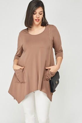 Twin Pocket Asymmetric Taupe Top