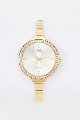 Diamante Face Skinny Strap Watch