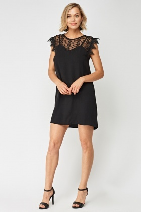 Lace And Crochet Insert Strap Sweetheart Dress