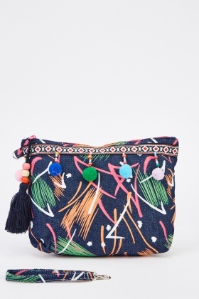 Pom Pom Trim Printed Cosmetic Bag