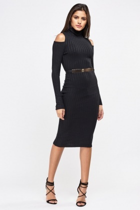 Cold Shoulder Ribbed Bodycon Dress
