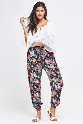 Floral And Paisley Mix Print Trousers