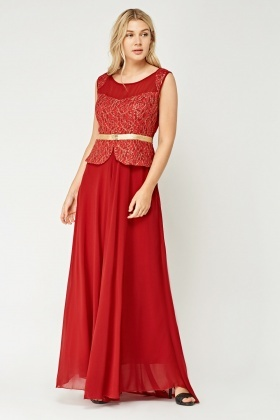 Illusion Embroidered Lace Contrast Maxi Dress