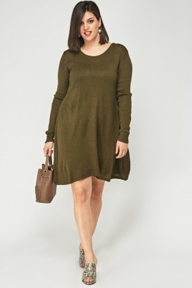 Olive Knitted Jumper Dress