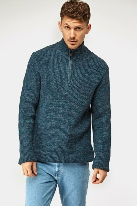 Speckled Zipped Neck Casual Jumper