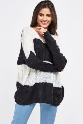 Stripe Long Line Knitted Jumper With Twin Pockets
