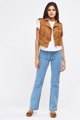 Suedette Fringed Cropped Gilet