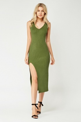 V-Neck Ribbed Midi Dress With Open Slit To Front