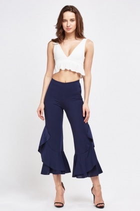 Asymmetric Flare Hem Trousers