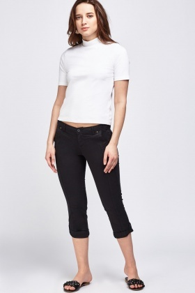 Cropped Black Cargo Trousers
