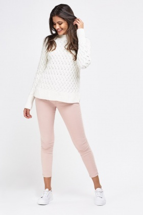 Dusty Pink Cropped Skinny Jeans