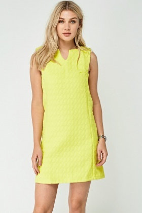 Lime Textured Shift Dress