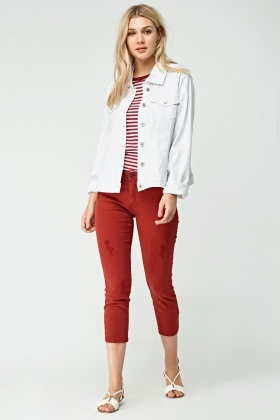 Maroon Cropped Jeans
