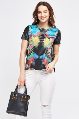 Printed Faux Leather Contrast Top