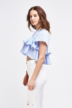 Ruffle Tiered Stripe Crop Top