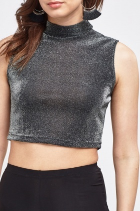 Silver Metallic Crop Top