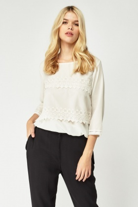 Broderie Mesh Overlay Chiffon Top