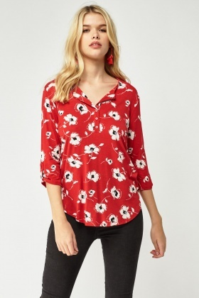 Button Front Printed Top