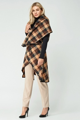 Checked Cape With Tie Up Waist
