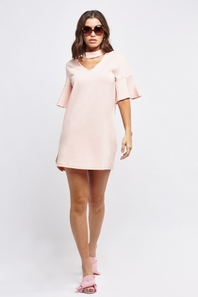 Choker Neck Flare Sleeve Dress