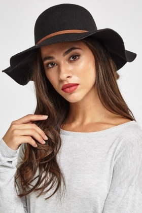 Detailed Trim Felt Floppy Hat
