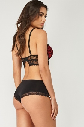 Lace Overlay Corset Bra And Brief Set