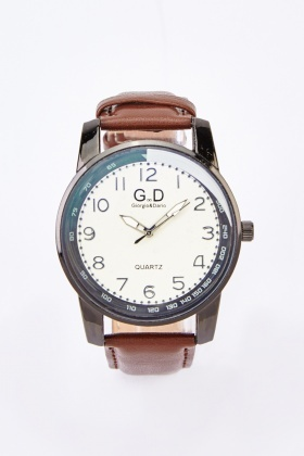 Mens Faux Leather Dive Watch