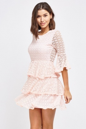 Mesh Overlay Frilly Layered Dress